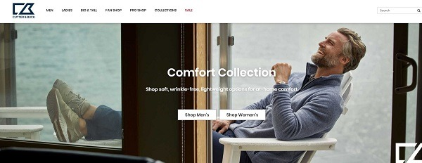 Cutter & Buck eCommerce clothing store example