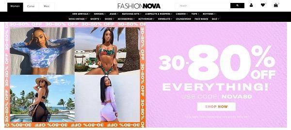 Fashion Nova eCommerce clothing store example