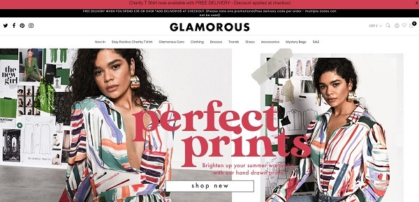 Glamorous eCommerce clothing store example