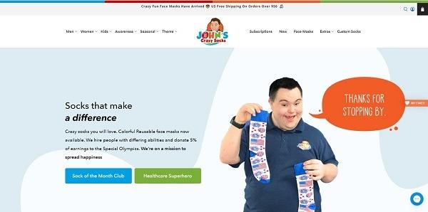 Jons crazy socks eCommerce clothing store example