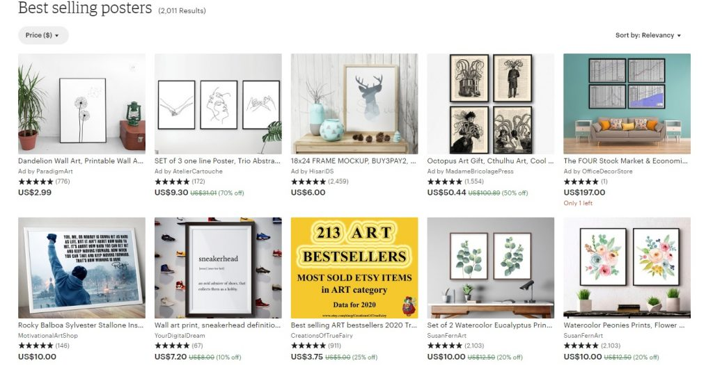 best selling posters etsy