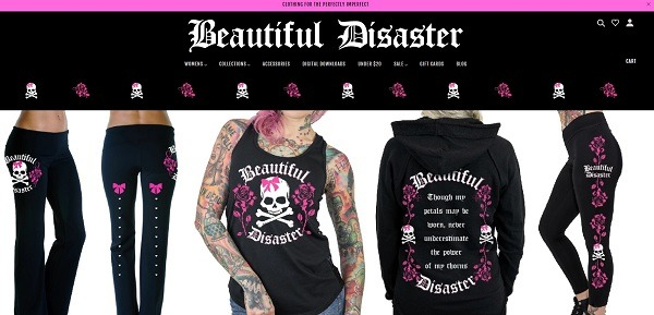 Beautiful Disaster eCommerce clothing store example