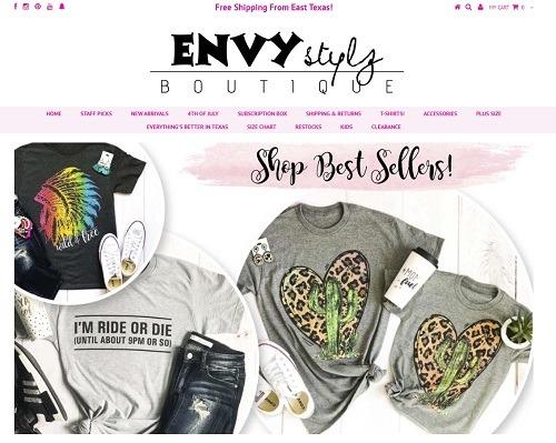 envy stylz eCommerce clothing store example