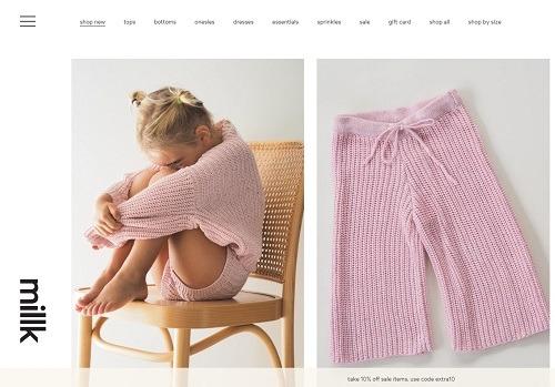 milk eCommerce clothing store example