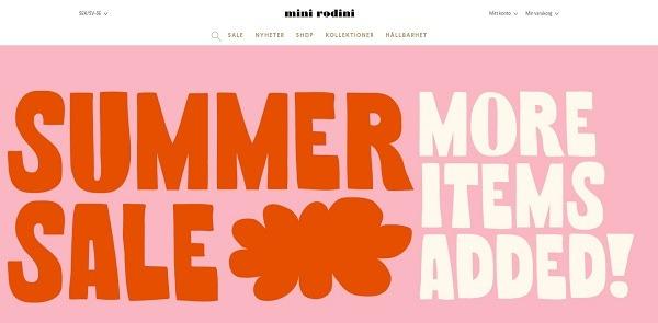 mini rodini eCommerce clothing store example
