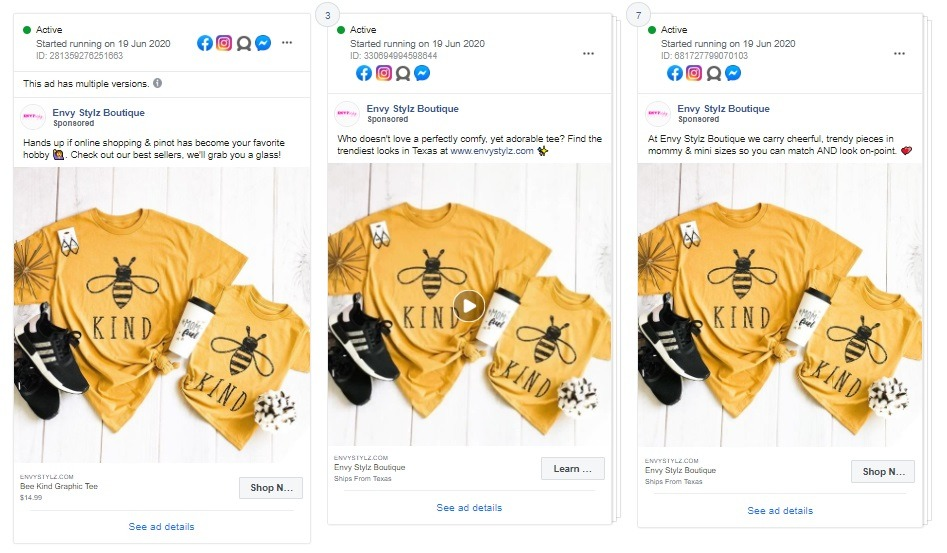 facebook ad example Envy Stylz