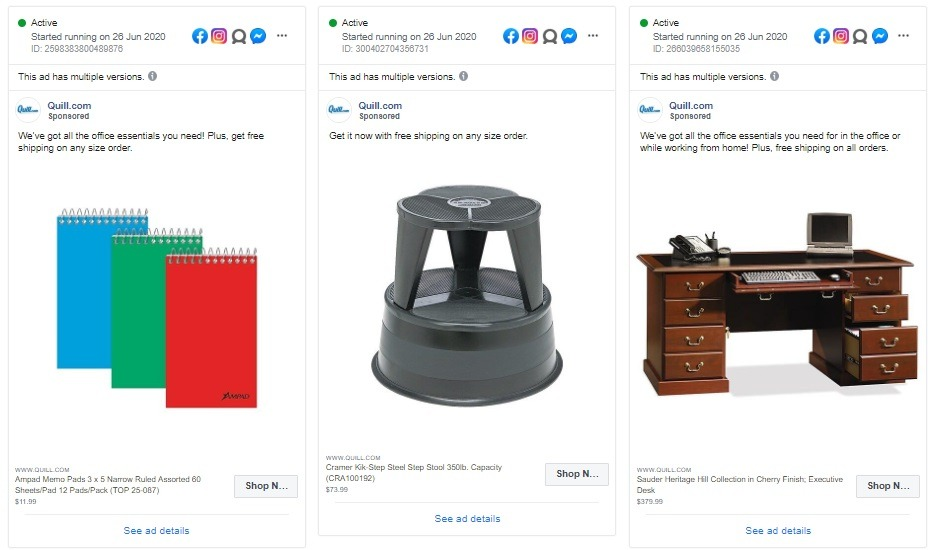facebook ad example Quill Office Supplies