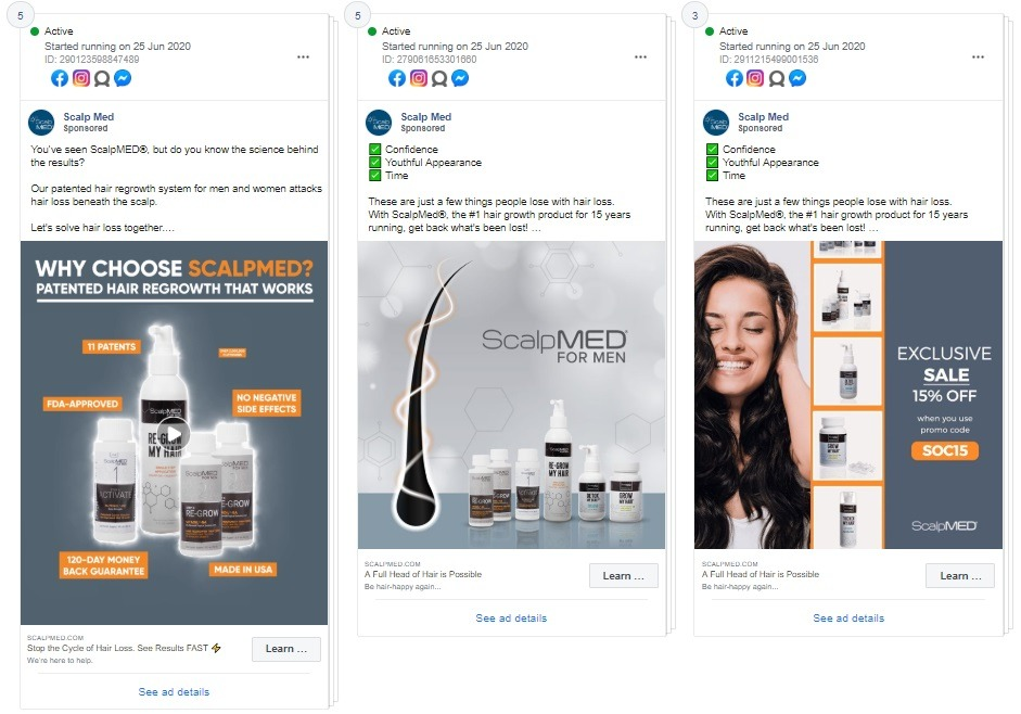 facebook ad example Scalp Med