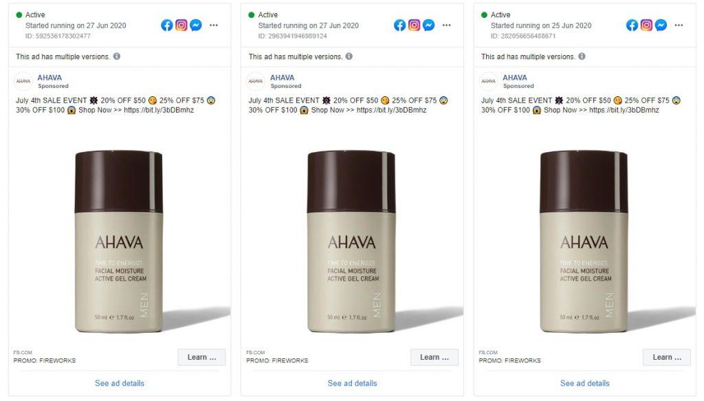 facebook ad example ahava