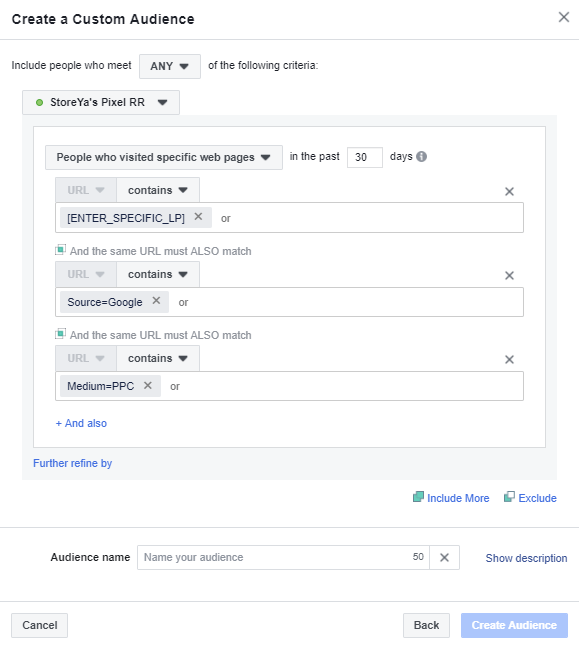 Google Ad Traffic Custom Audiences in Facebook
