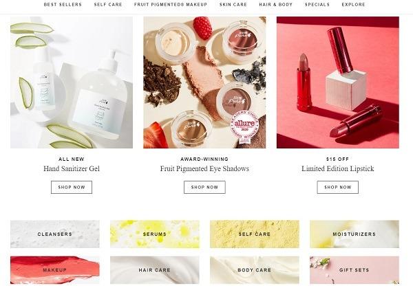100 pure eCommerce website design example 2