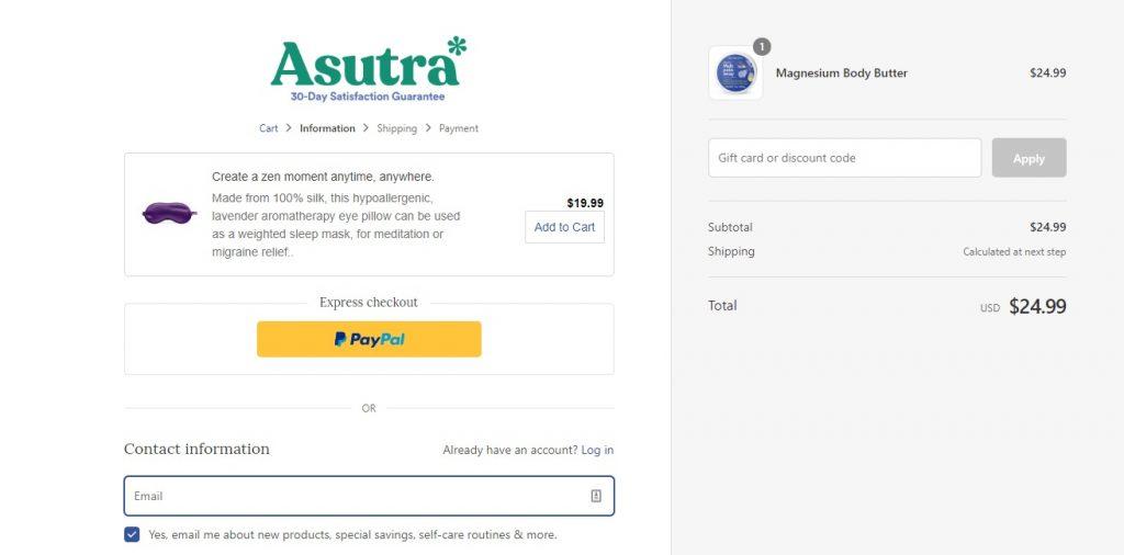 Asutra checkout page
