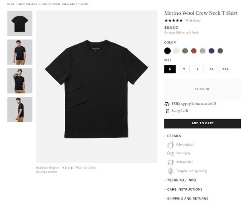 Unbound ecommerce product page example