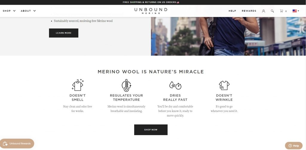 Unbound ecommerce website example