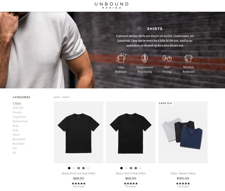 Unbound ecommerce website example category section