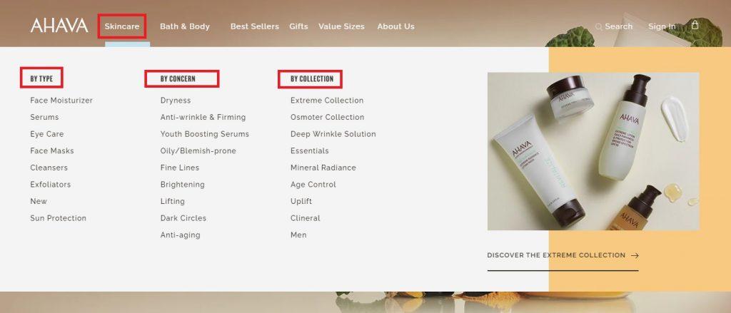 ahava best ecom store menu examples