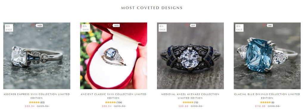 avena birthstone eCommerce home page images
