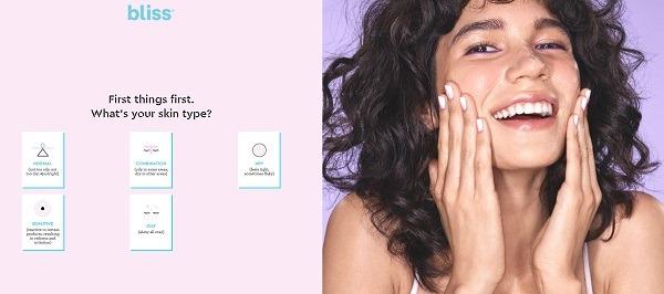 bliss beauty ecommerce website quiz