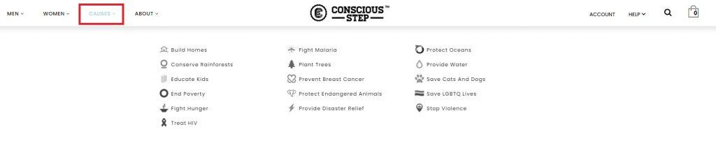 conscious step home menu page example