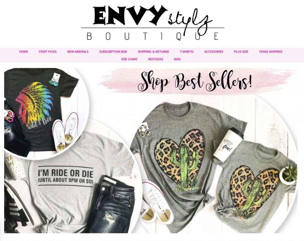envy stylze eCommerce home page design example