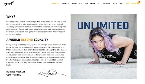 grrrl online store home page design example