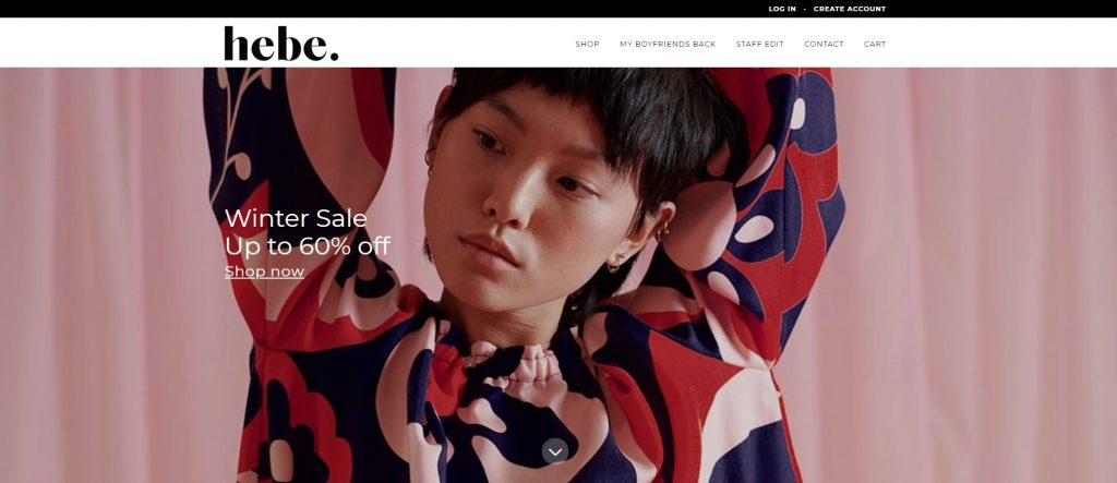 hebe online store home page design