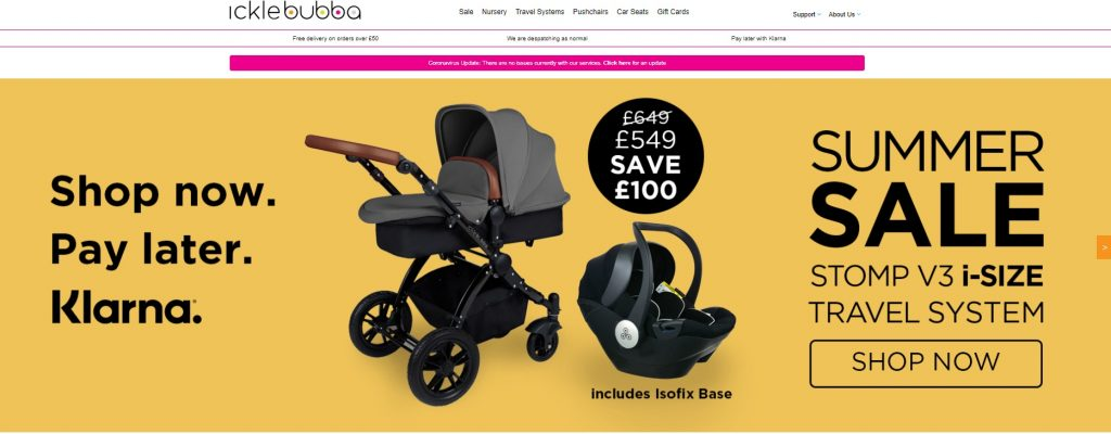 ickle bubba eCommerce website example
