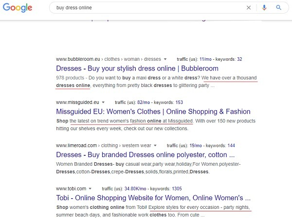 online store metadata description example