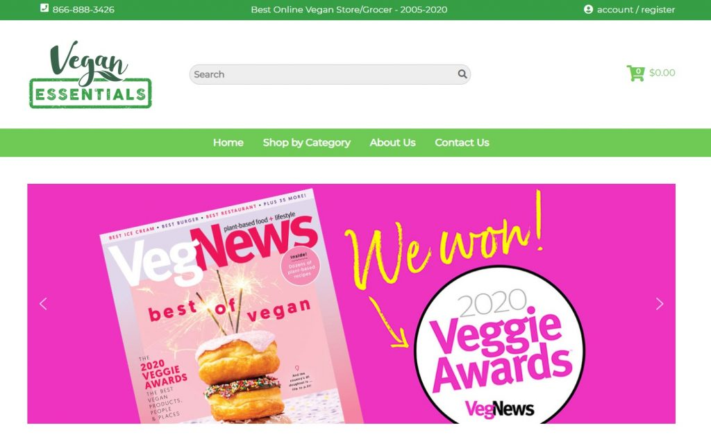 vegan essentials eCommerce website example