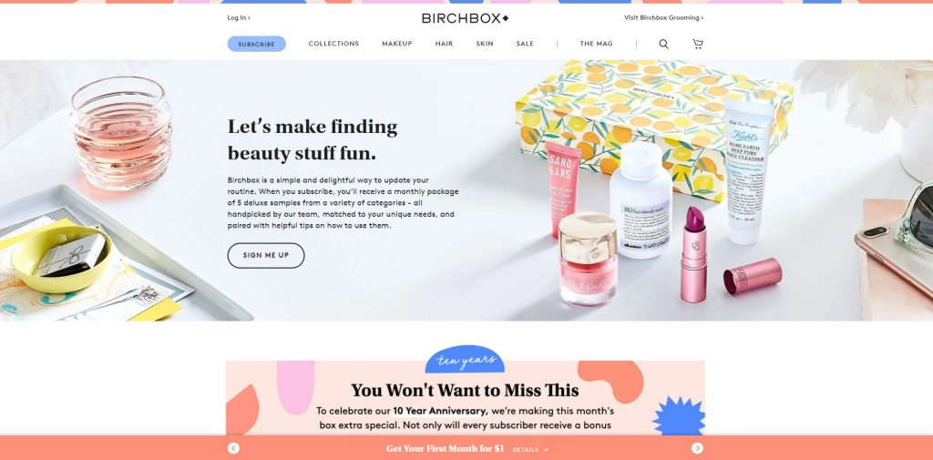 birchbox home page example