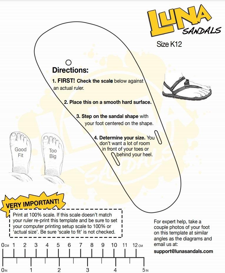 luna sandles creative size guide example printable