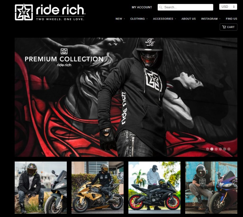 ride rich online store example