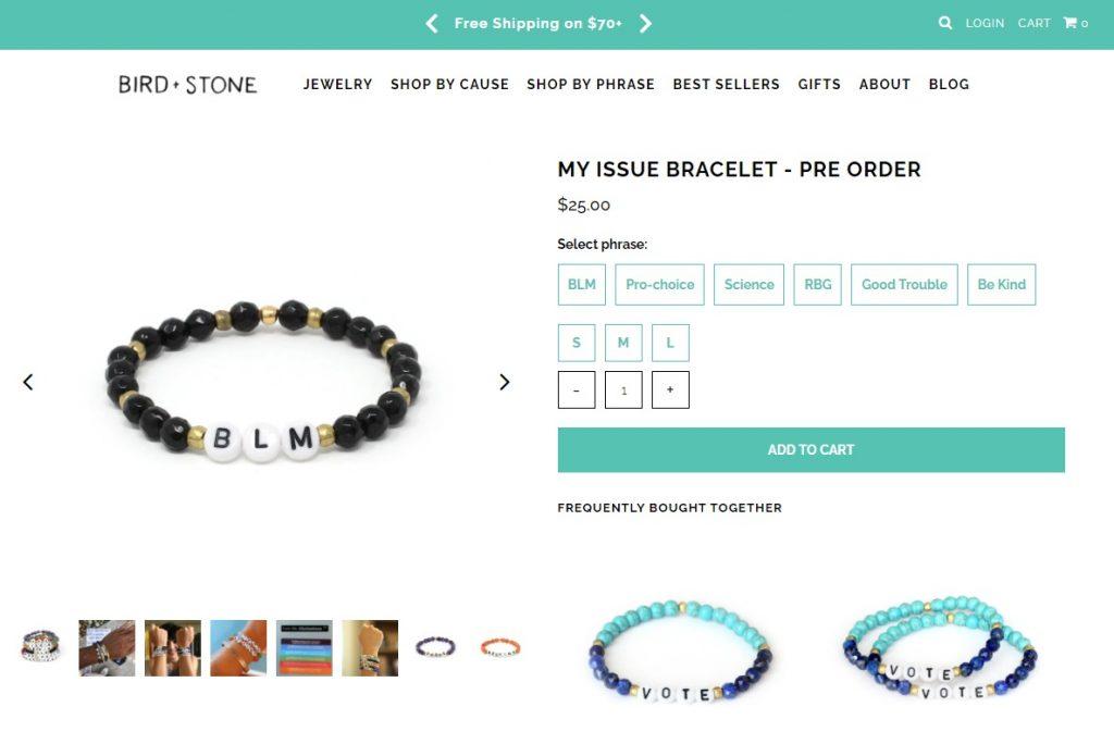Bird Stone online jewelry instagram store example