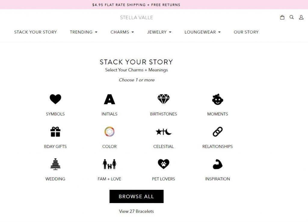 Stella Vallie online jewelry instagram store example