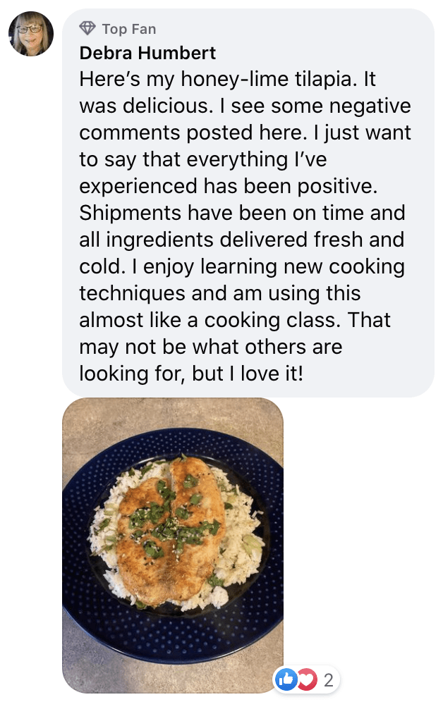 post from Blue Apron's Facebook page
