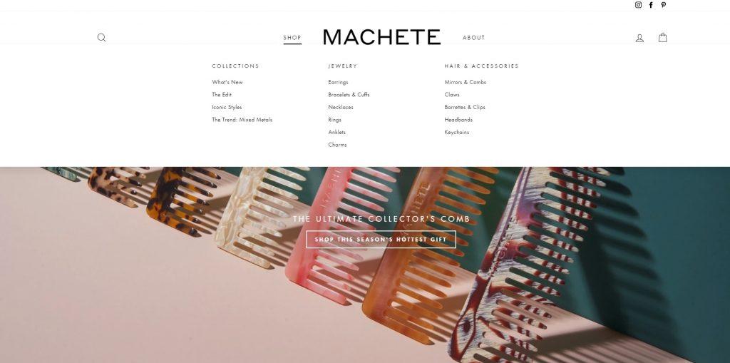 machete online jewelry store example
