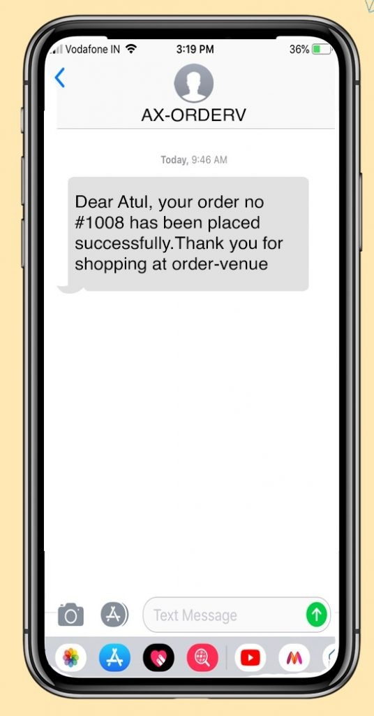 order confirmation text example