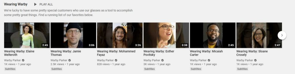warby eCommerce youtube channel example