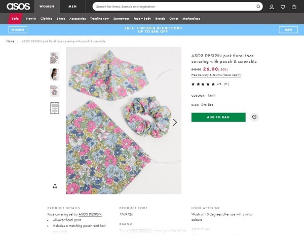 ASOS matching scrunchie and mask combo example