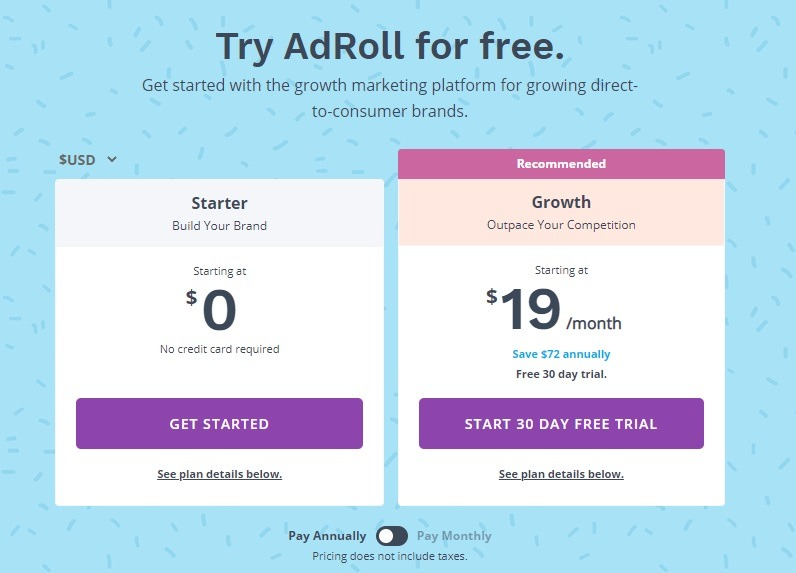 Adroll pricing options