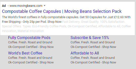 google search ad example ecommerce