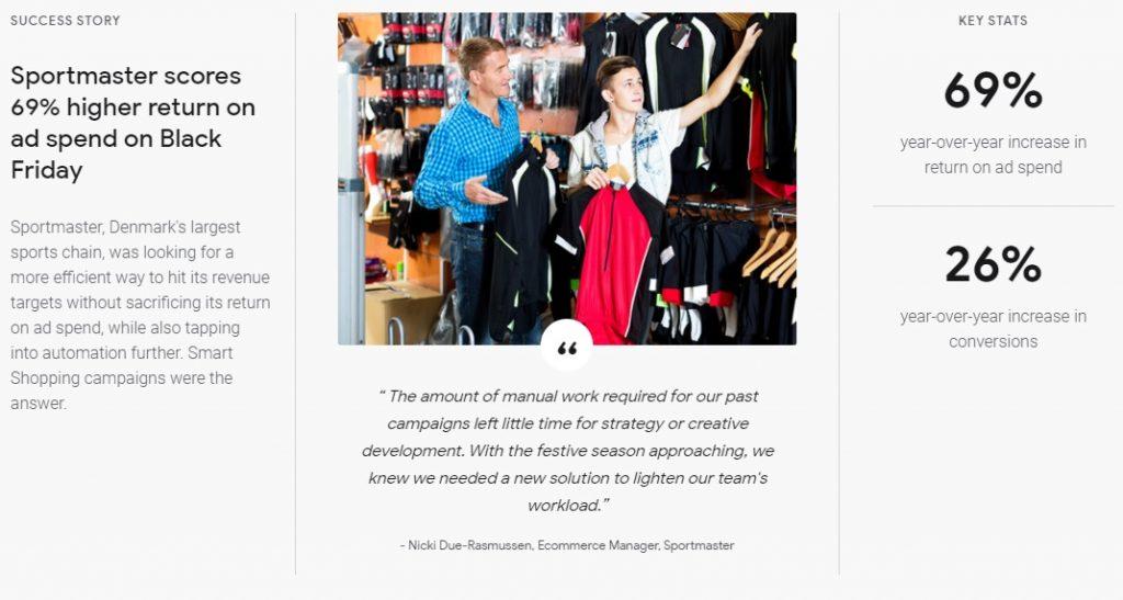 google shopping success story