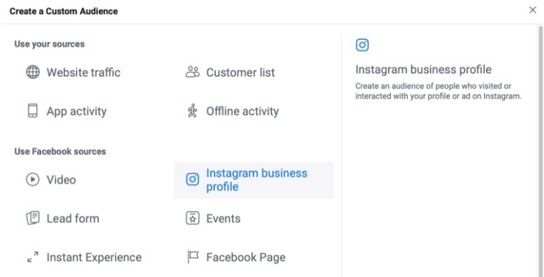 how to create custom audience for Instagram engagement