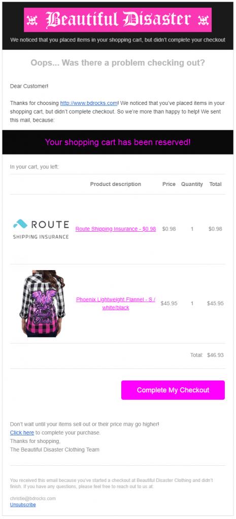 Cart Abandonment Email CTA Example