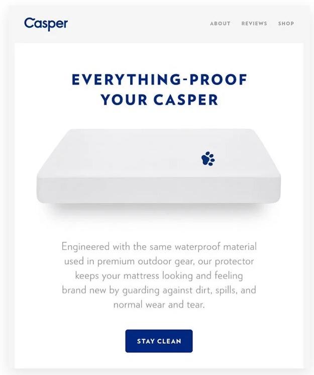 Caspar good email CTA copy example