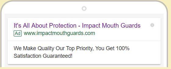 mouthguard google search example cta