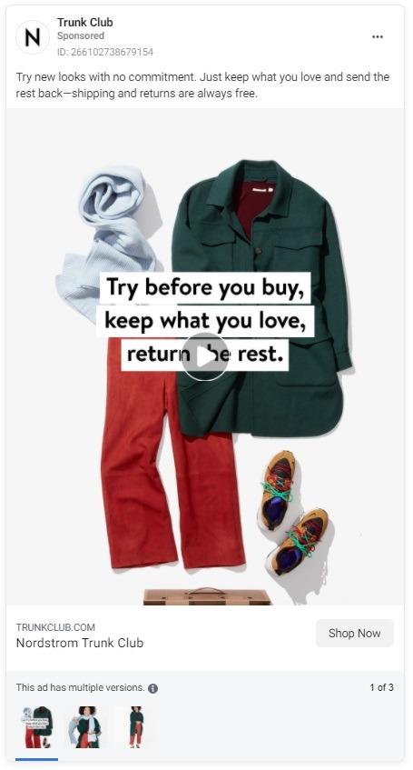trunk club Instagram ad example CTAs 2